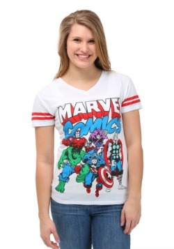 Marvel Comics Avenger Group Soccer V-Neck Juniors T-Shirt