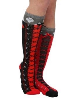 Batman Harley Quinn Faux Lace Up Knee High Socks