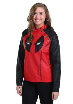 Juniors Deadpool Side Zip Moto Jacket