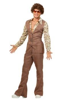 Men's 70's Brown Disco Suit Costume