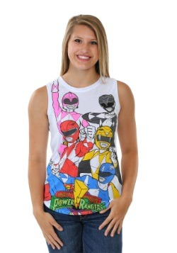 Power Rangers Panel Print Juniors Muscle Tank