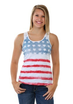 American Flag Juniors Crochet Back Tank