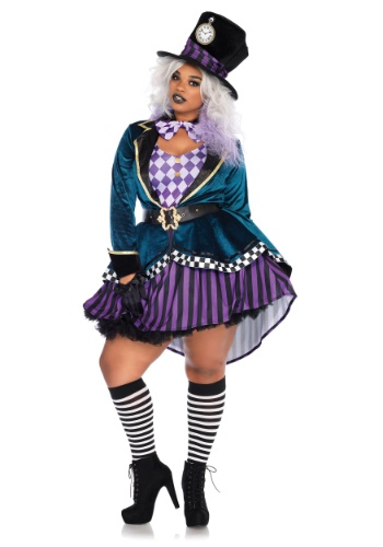 Women's Delightful Mad Hatter Plus Size Costume