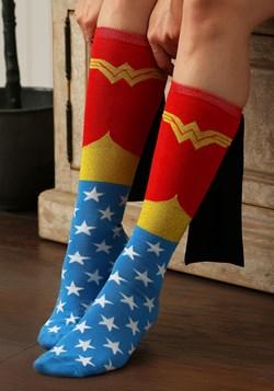 70bcca7c7 Wonder Woman Knee High Shiny Caped Socks