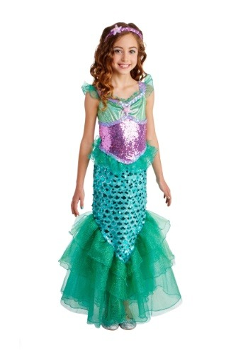 Girls Blue Seas Mermaid Deluxe  Costume