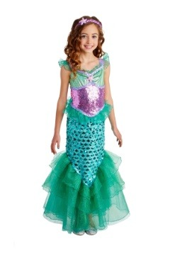Girls Blue Seas Mermaid Deluxe  Costume