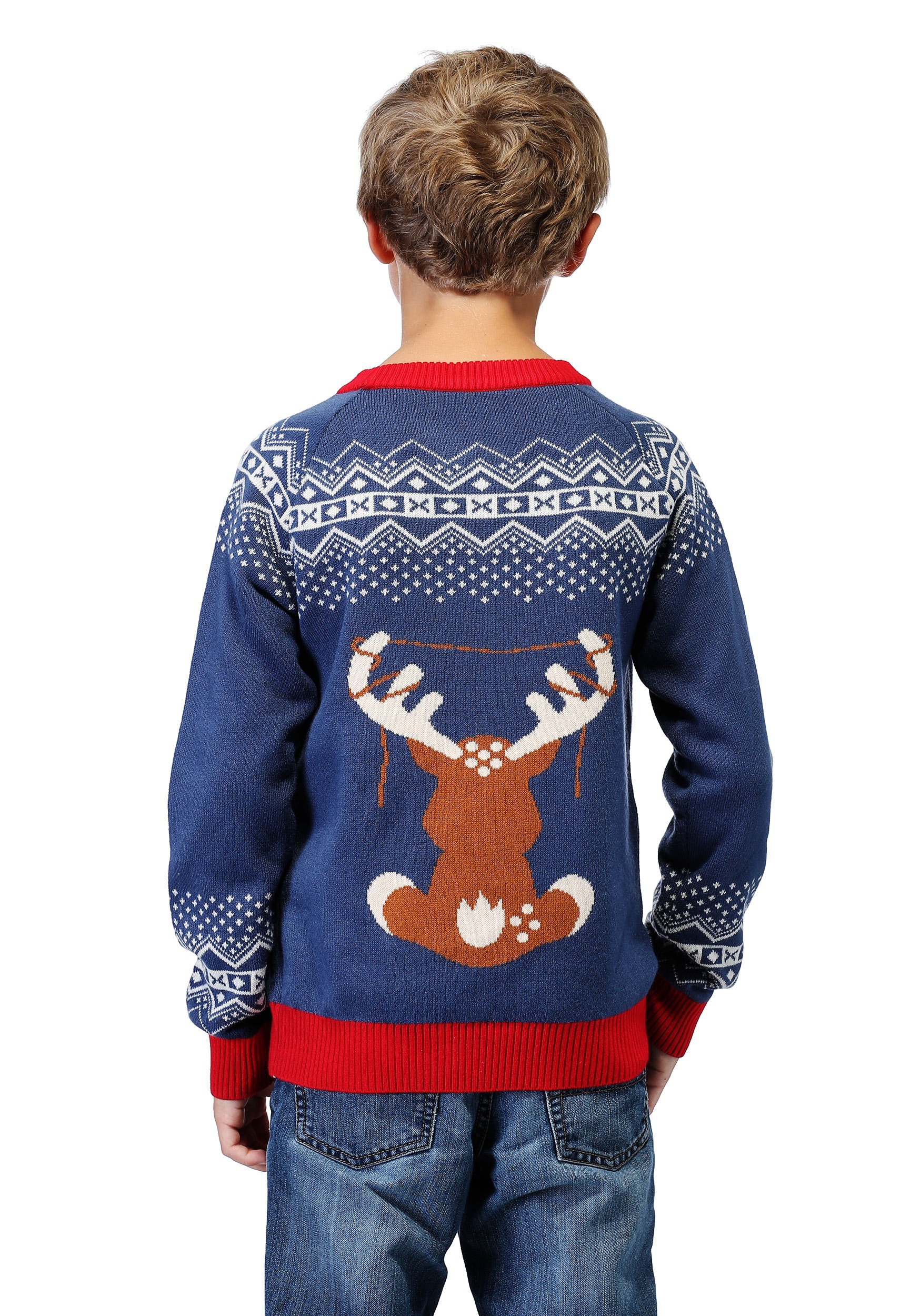 Boy S Reindeer Led Light Up Ugly Christmas Sweater