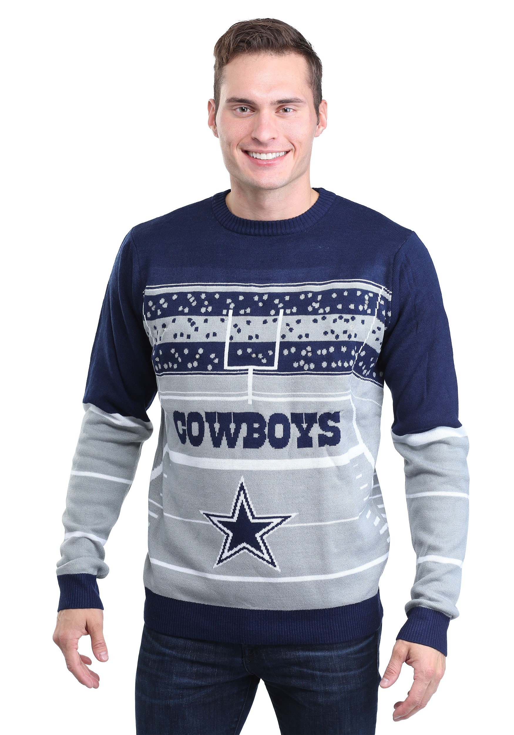 wholesale dealer b3f8c c649b Dallas Cowboys Stadium Light Up Ugly X-Mas Sweater