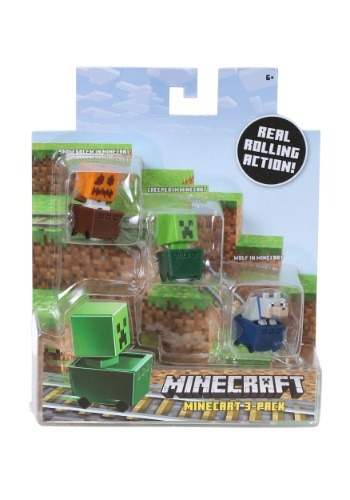 Minecraft Snow Golem, Creeper, Wolf 3 Pack Figure Set
