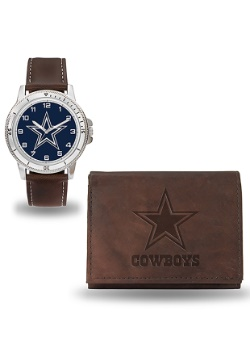Cowboys Brown Watch and Wallet Set