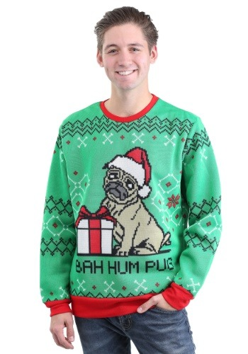 Bah Hum Pug Adult Ugly Christmas Sweater