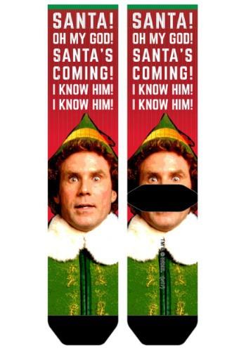 Elf Santa I Know Him Mens Sublimated Socks