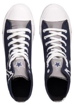 Dallas Cowboys High Top Big Logo Canvas Shoes Alt 2
