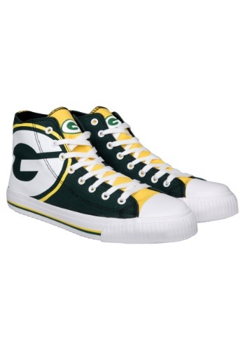 Green Bay Packers High Top Big Logo Canvas Shoes
