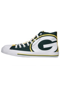 Green Bay Packers High Top Big Logo Canvas Shoes Alt 1