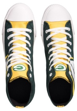 Green Bay Packers High Top Big Logo Canvas Shoes Alt 2