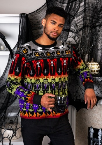 Adult Classic Horror Monsters Fair Isle Halloween Sweater
