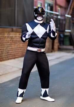 Adult Power Rangers Black Ranger Muscle Costume