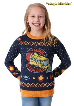 Child Magic School Bus Ugly Christmas Sweater alt