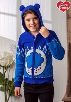 Child Grumpy Bear Care Bears Zip Up Knit Sweater-1
