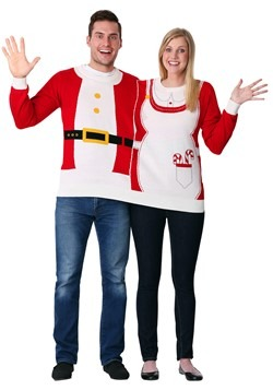 Adult Two Person Mr. & Mrs. Claus Ugly Christmas Sweater alt