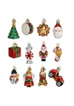 12 piece Miniature Christmas Glass Ornament Set