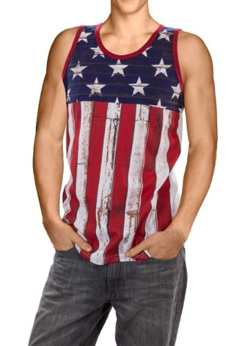Mens Distressed USA Flag Tank Tee