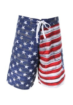 Mens Distressed USA Flag Swim Board Shorts