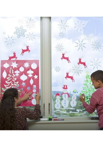 Holiday Stencils & Window Markers Set
