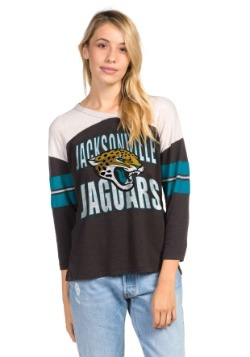 Women's Black Jacksonville Jaguars Throwback Tee