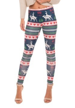 Humping Reindeer Ugly Christmas Sweater Leggings