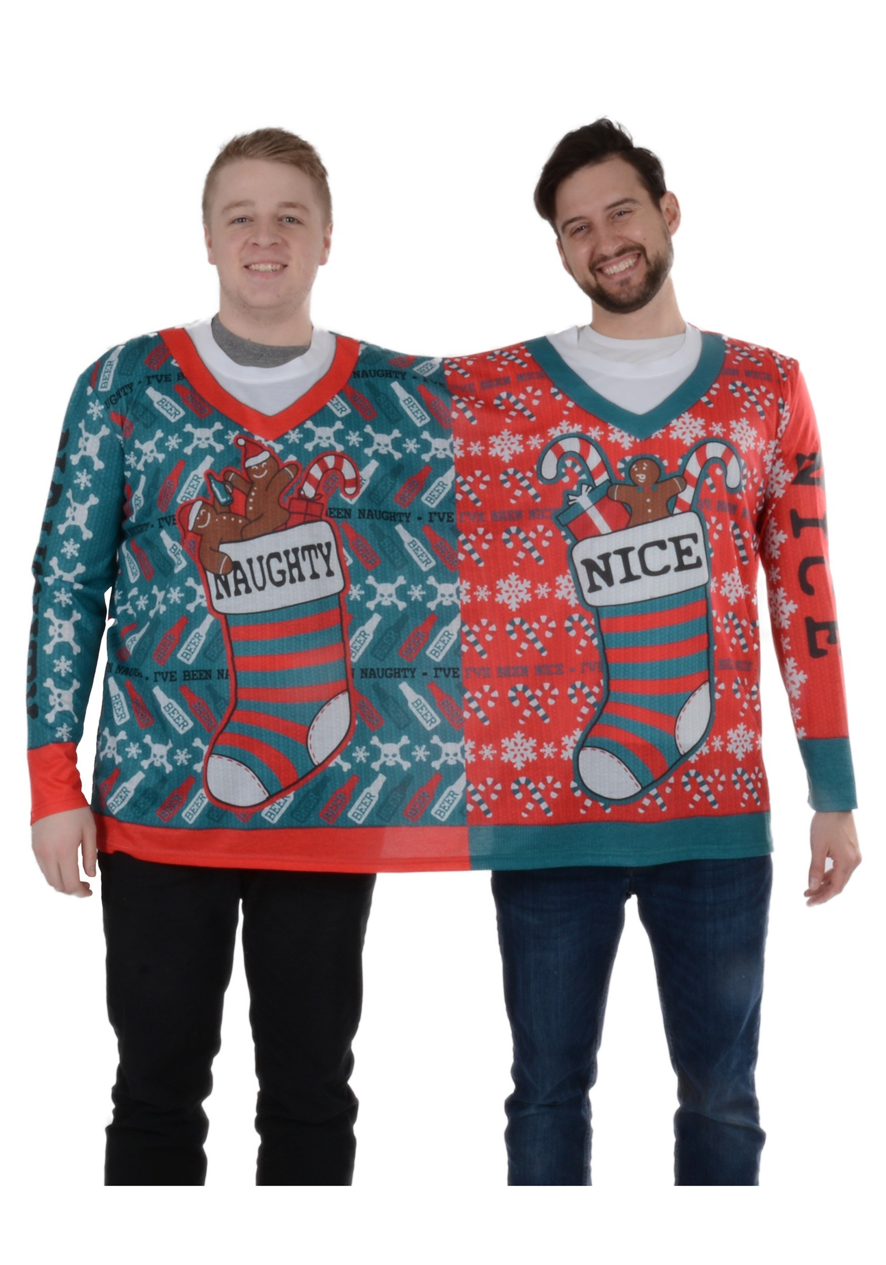 Naughty Nice 2 Person Ugly Christmas Tee