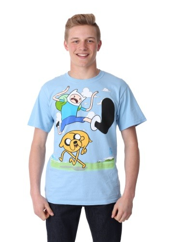 Adventure Time Finn Kick Jump Mens T-Shirt