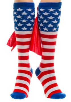 American Flag Knee High Cape Socks