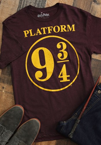 Harry Potter Platform 9 3/4 Men's Maroon Poly Linen Tee