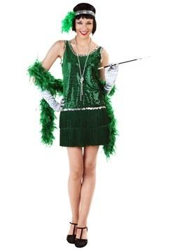 Adult Sequin & Fringe Green Flapper Costume