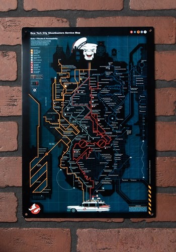 Ghostbusters NYC Subway Map Metal Sign