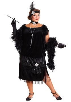 Deluxe Black Flapper Plus Size Womens Costume Update3