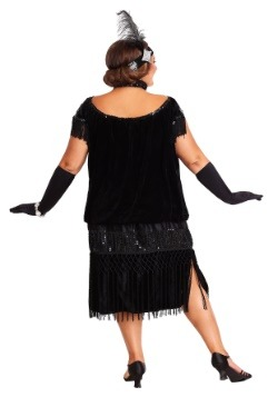 Deluxe Black Flapper Plus Size Womens Costume Update3 Back
