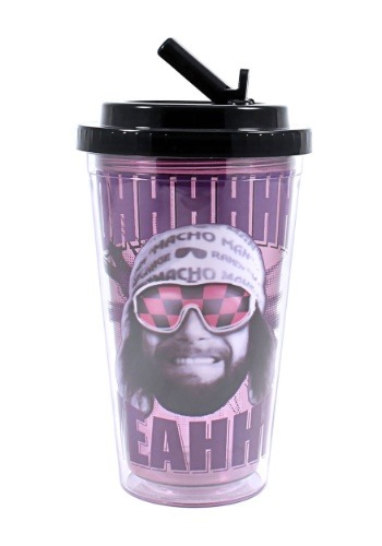 Macho Man 16 oz Flip Straw Cold Cup