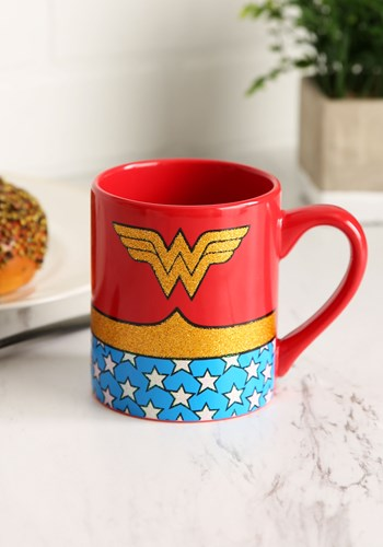 Wonder Woman Uniform Sparkle Glitter 14 oz Ceramic Mug