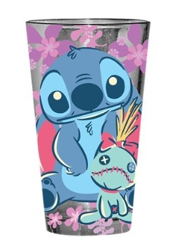 Lilo and Stitch Scrump Floral 16 oz Pint Glass