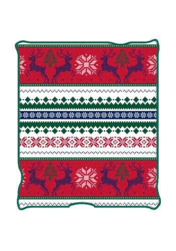 "Ugly Christmas Reindeer Print 50"" x 60"" Throw Blanket"