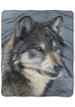 "Cold Stare Wolf 50"" x 60"" Raschel Throw"