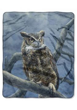 """Super Moon Owl 50"""" x 60"""" Raschel Throw"""