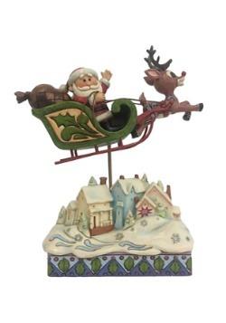 Rudolph Sleigh Over Village Statue