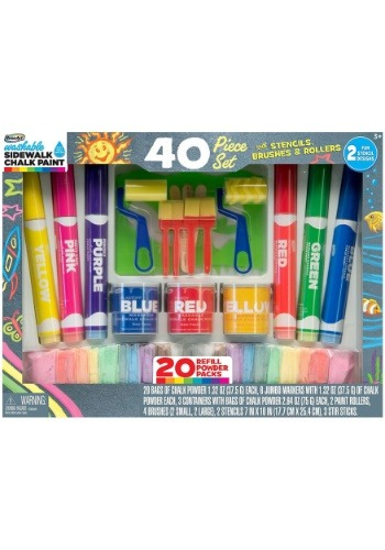 40 Piece Washable Sidewalk Chalk Paint Deluxe Set