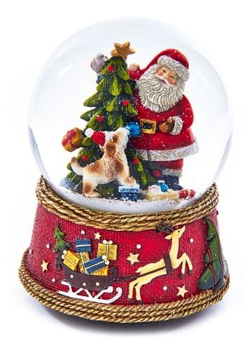 Santa w/ Dog Musical Waterglobe