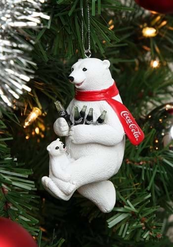 "4.25"" Coca-Cola Bear w/ Cub Molded Ornament"