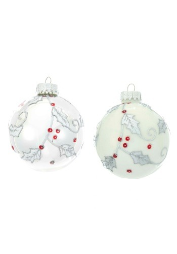White & Silver Holly Branch Glass Ball Ornament 6 Piece Set